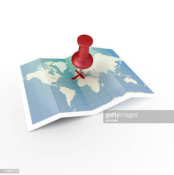 Unfolded world map with red pin in a cross on Europe