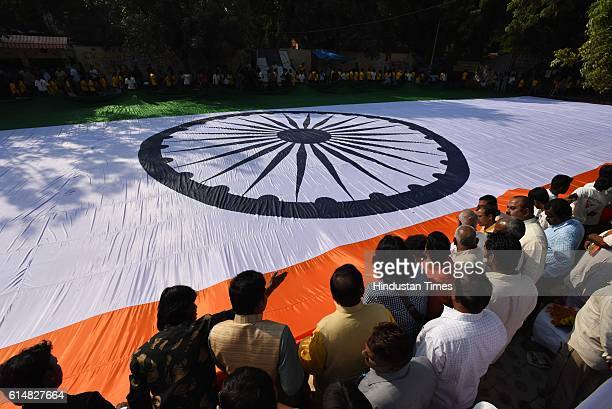 Unfurl of world's largest Indian National Flag on the occasion of 85th birth anniversary of former President Late APJ Abdul Kalam at Jantar Mantar on...