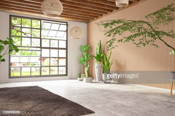 unfurnished cozy bedroom with wooden wall and window - sparse stock pictures, royalty-free photos & images
