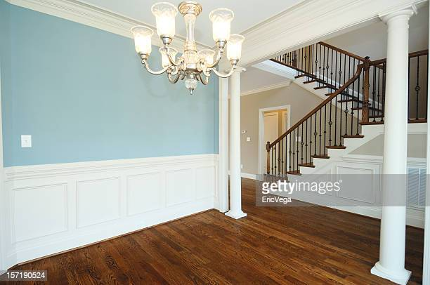 unfurnished home with blue walls - nook architecture stock pictures, royalty-free photos & images