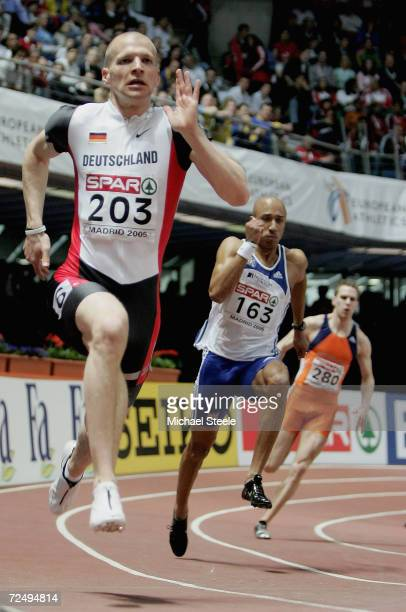 Unger Tobias of Germany in action as he wins the 200m final during the third day of the European Indoor Athletics Championships 2005 at Comunidad de...