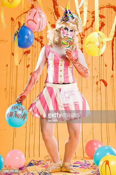 unhappy birthday - scary clown makeup stock photos and pictures