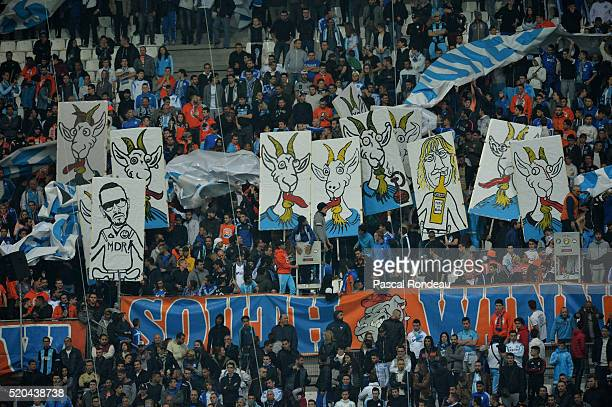 Unhappy Marseille Fans demonstrate during the French League 1 match between Olympique de Marseille and FC Girondins de Bordeaux at Stade Velodrome on...
