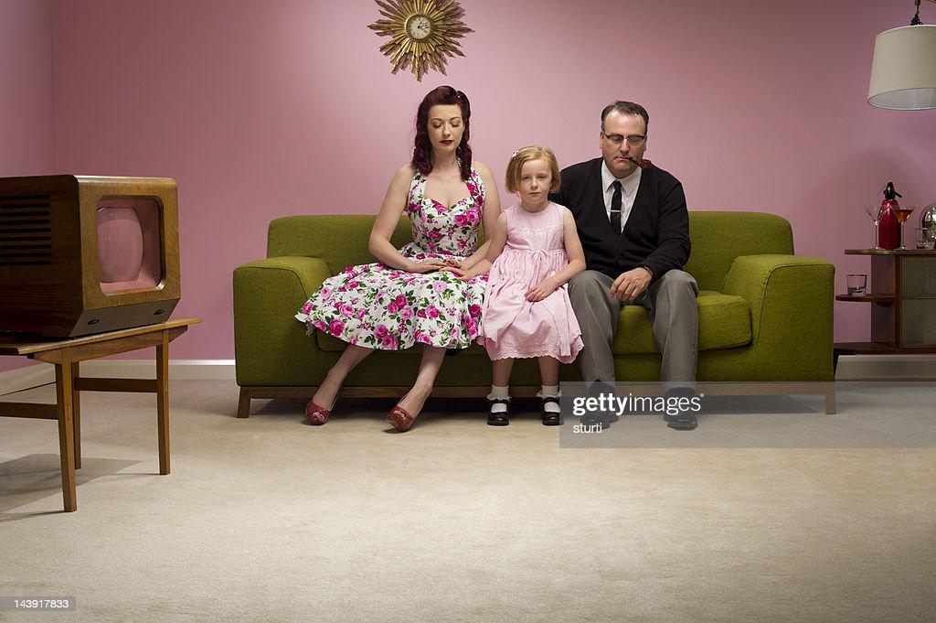 unhappy retro family : Stock Photo