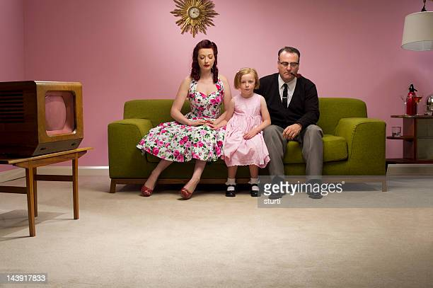 unhappy retro family