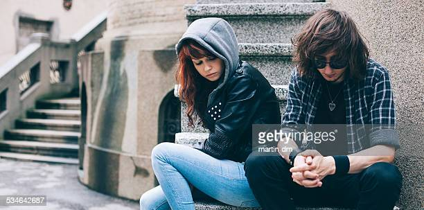 Unhappy teenage couple