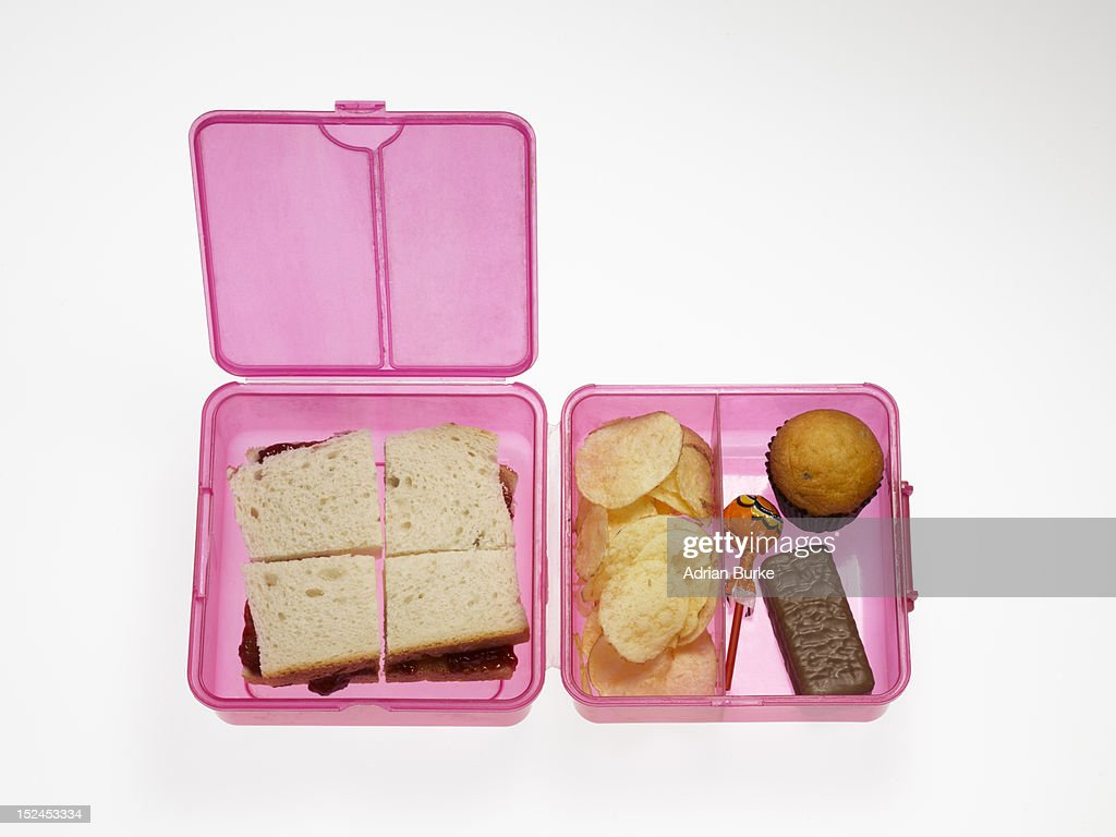 Unhealthy Childs Lunchbox Stock Photo