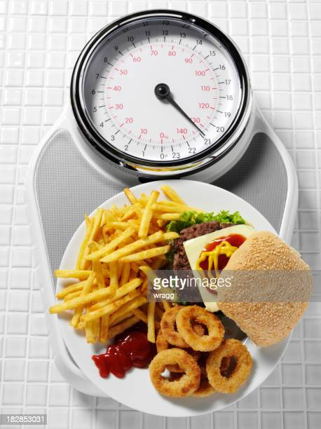 Unhealthy Eating on Bathroom Scales