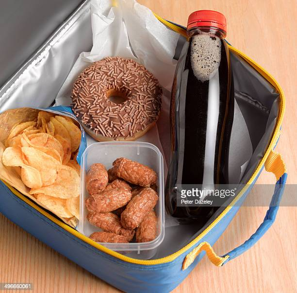 unhealthy lunch box - unhealthy living stock pictures, royalty-free photos & images