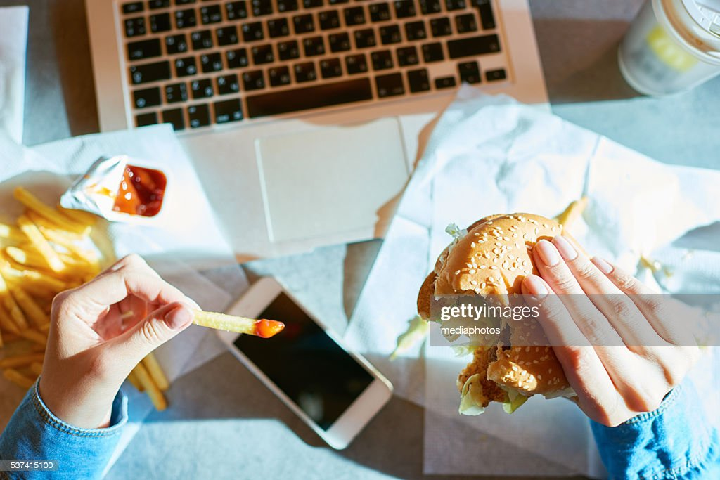 Unhealthy lunch : Stock Photo