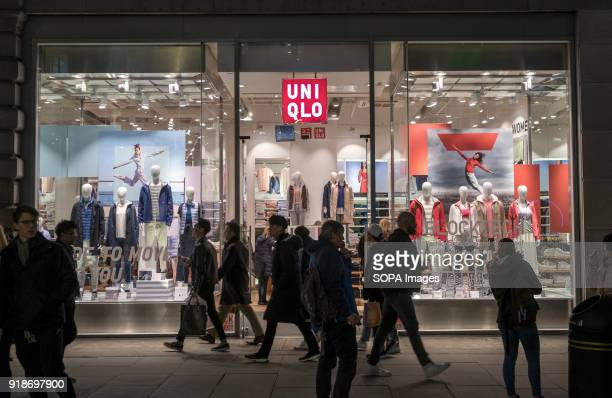 Uni Qlo store seen in London famous Oxford street Central London is one of the most attractive tourist attraction for individuals whose willing to...