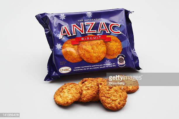 Unibic Australia Pty's Anzac biscuits are arranged for a photograph in Sydney Australia on Thursday March 15 2012 The Anzac Biscuit survived the DDay...