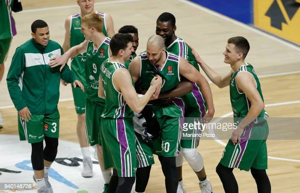 Unicaja Malaga happy at the end of the 2017/2018 Turkish Airlines EuroLeague Regular Season Round 29 game between Unicaja Malaga and Olympiacos...