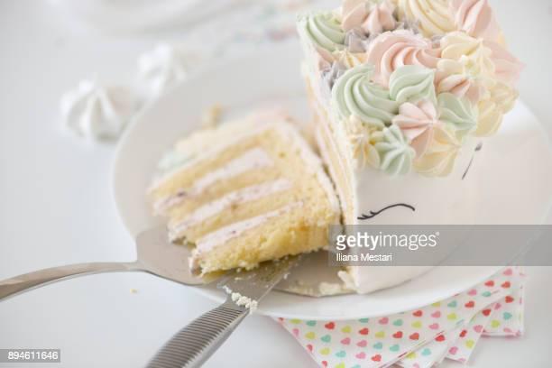 Unicorn cake in a plate