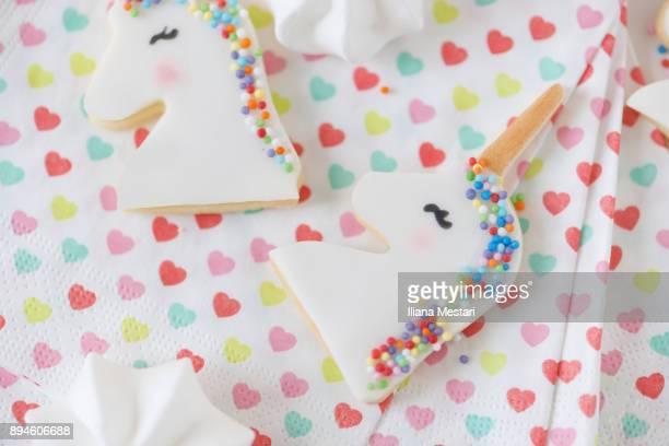 Unicorn cookies and macarons
