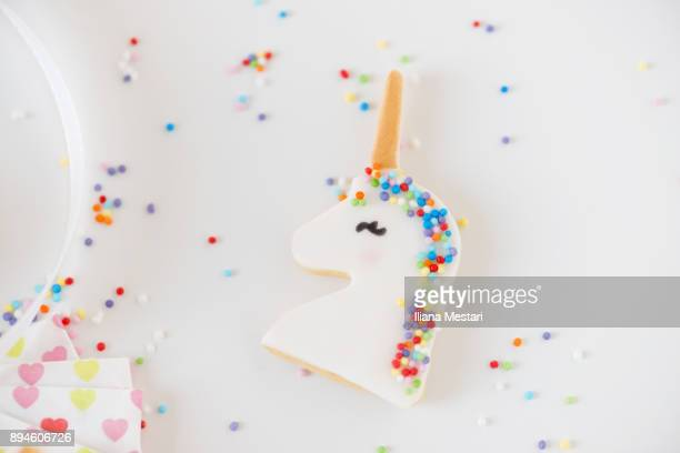 unicorn cookies and macarons - unicorn stock pictures, royalty-free photos & images