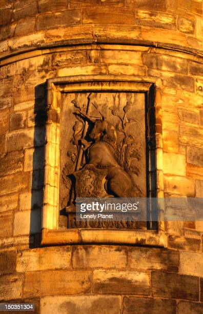 Unicorn on the facade of the North-Western Tower, the oldest surviving section of the palace of Holyroodhouse.