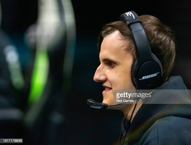 """Unicorns Of Love's Aleksandr """"SaNTaS"""" Lifashin at the 2021 MSI annual League of Legends tournament on May 9, 2021 in Reykjavik, Iceland."""