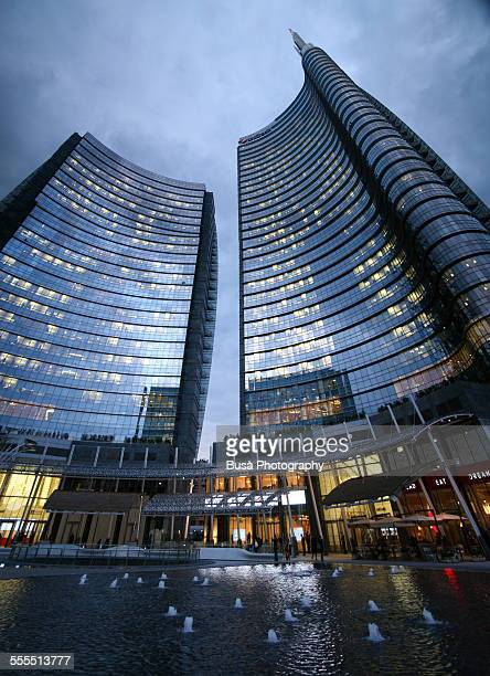 Unicredit Tower in Milan at twilight