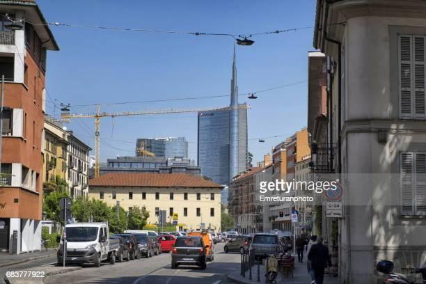 unicredit tower seen from brera streets,milan. - emreturanphoto stock-fotos und bilder