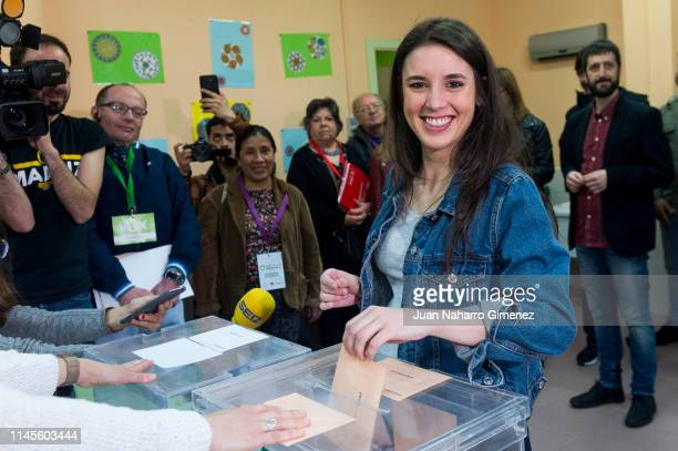 Unidas Podemos candidate Irene Montero is seen voting on April 28 2019 in La Navata Spain Spaniards went to the polls today to vote for 350 members...
