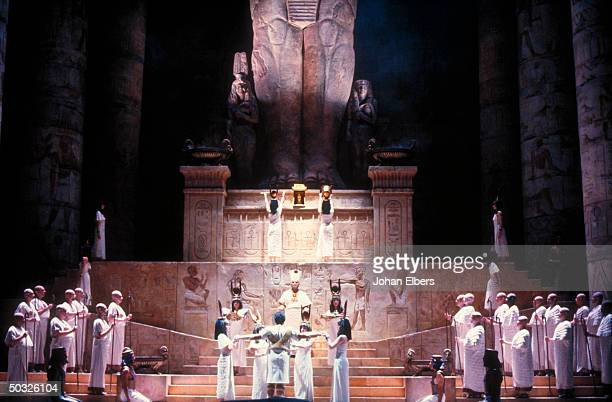 Unident tenor as Rhadames in judgement scene fr Verdi's Aida on stage at the Metropolitan Opera