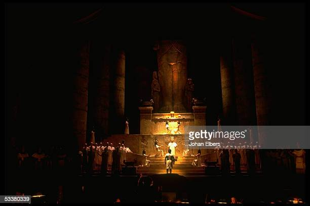 Unident tenor as Rhadames in judgement scene from Verdi's 'Aida' on stage at the Metropolitan Opera