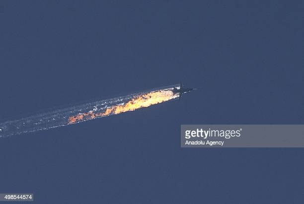 Unidentified aircraft goes down in Kizildag region of Turkey's Hatay province, close to the Syrian border, on November 24, 2015. It remains unclear...