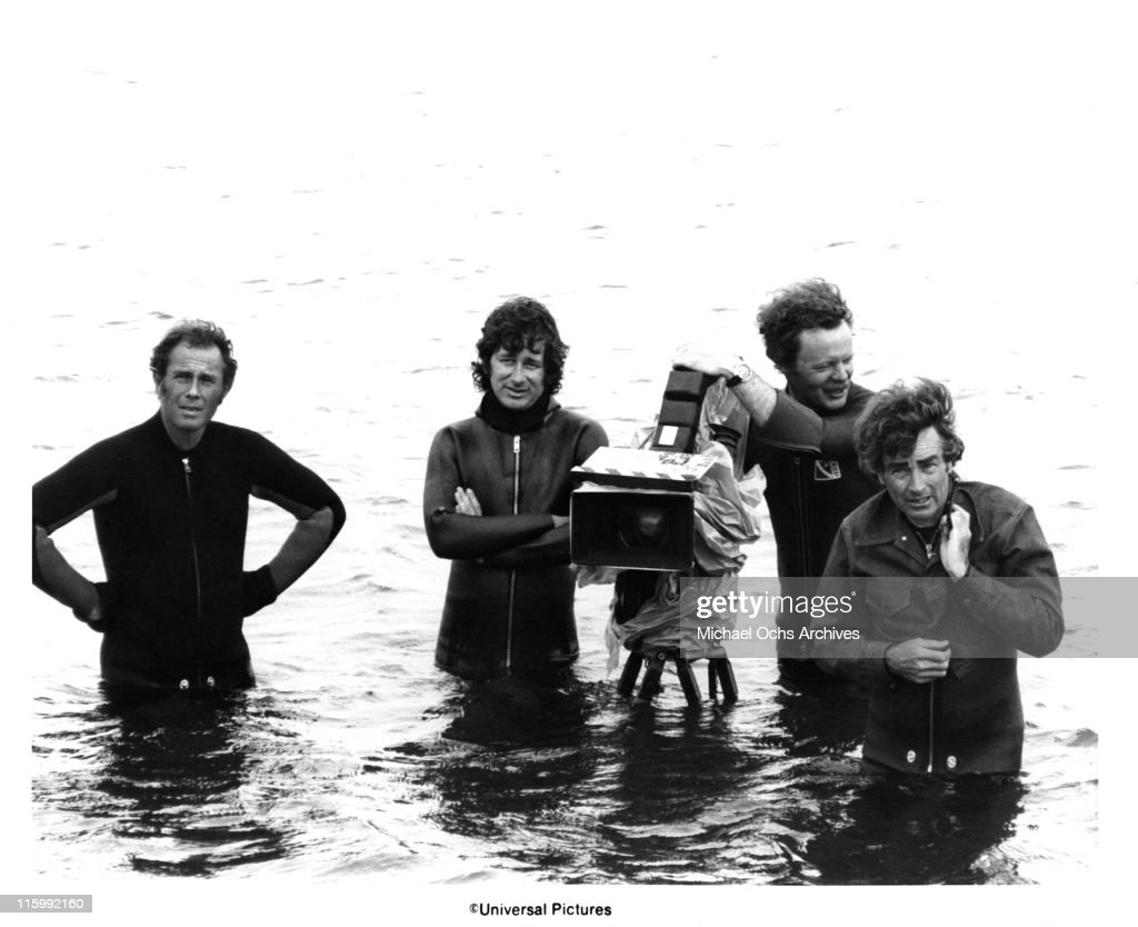 (L-R) [unidentified], Director Steven Spielberg, camera operator Michael Chapman and cinematographer Bill Butler on the set of the Universal Pictures production of 'Jaws' in 1975 in Martha's Vineyard, Massachusetts.