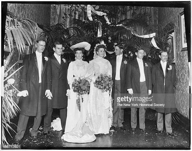 Unidentified group wedding portrait New York New York 1895 Seven people