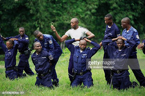 Unidentified instructors train Congolese policemen on April 25 2006 in Kasangulu outside Kinshasa Congo DRC The European Union has a cooperation and...