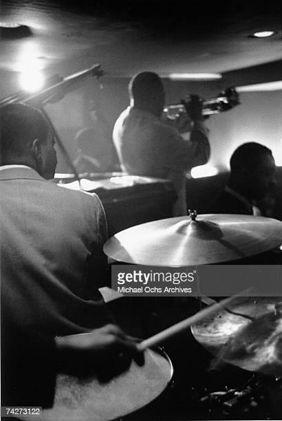Unidentified Jazz musicians perform in a nightclub circa 1955 in New York City New York