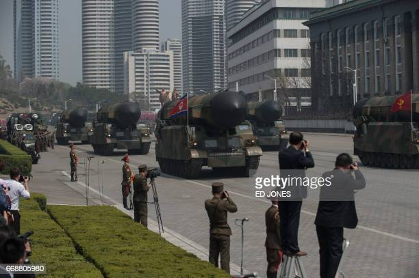 Unidentified Korean People's Army rockets are displayed during a military parade marking the 105th anniversary of the birth of late North Korean...