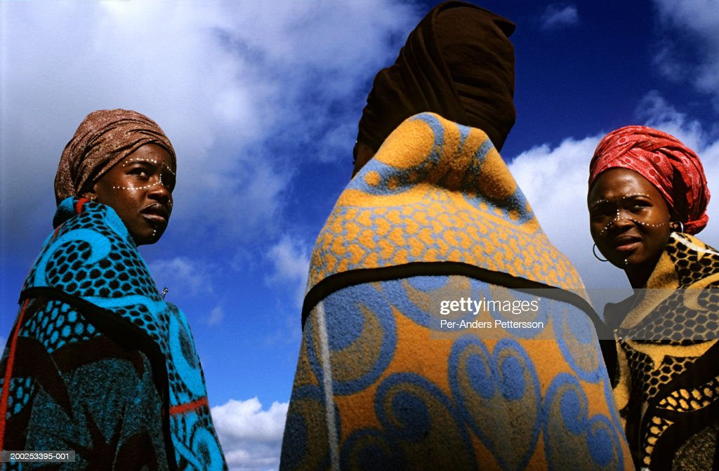 Women dressed in traditional clothing in Maseru, Lesotho : News Photo