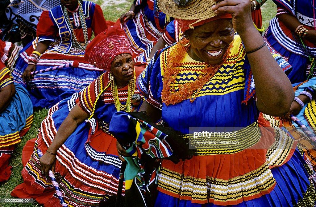 Women dressed in traditional clothing attend wedding in Maseru, Lesotho : News Photo