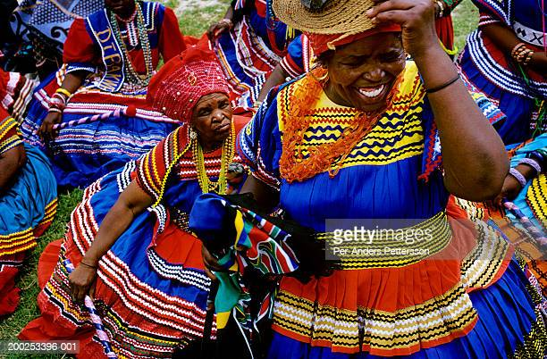 Unidentified Lesotho women dressed in traditional clothing attend at royal wedding on February 16 2000 in Maseru the capital of Lesotho The small...