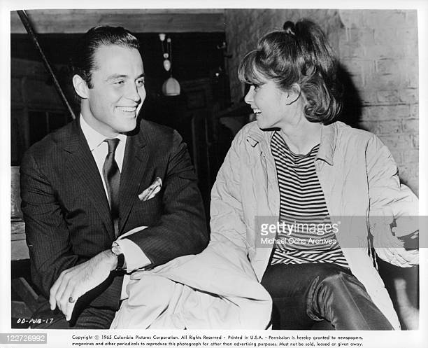 Unidentified man sharing laugh with Stefanie Powers in a scene from the film 'Die Die My Darling' 1965