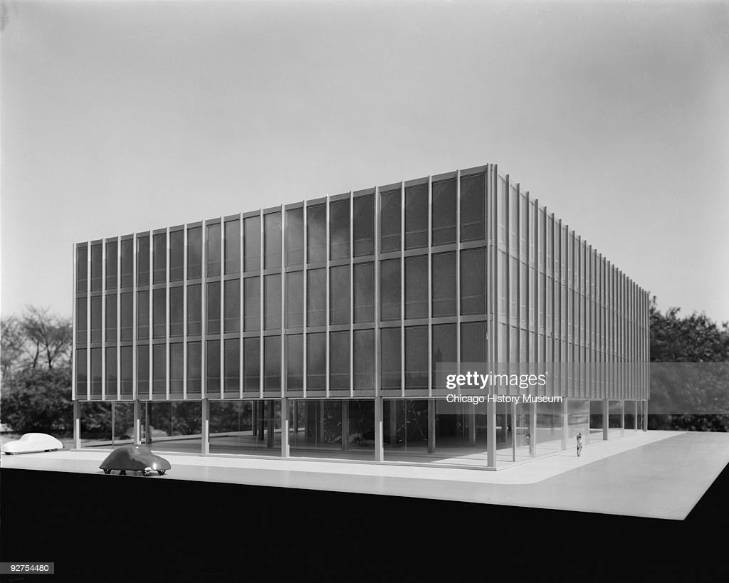 Unidentified Model For 3 Story Modern Building, Designed By Mies Van Der  Rohe,