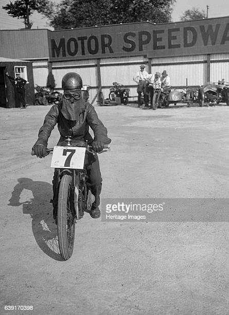 Unidentified motorcycle Event Entry No: 7. Place: Lea Bridge Speedway. Date: 14.7.28. Artist Bill Brunell.
