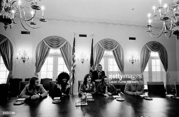 Unidentified person keyboardist/musician Billy Preston singer/musician George Harrison musician Ravi Shankar and Jack Ford President Gerald R Ford's...