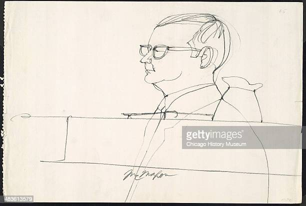 Unidentified prosecution witness testifying in a courtroom illustration during the trial of the Chicago Eight Chicago Illinois late 1969 or early...