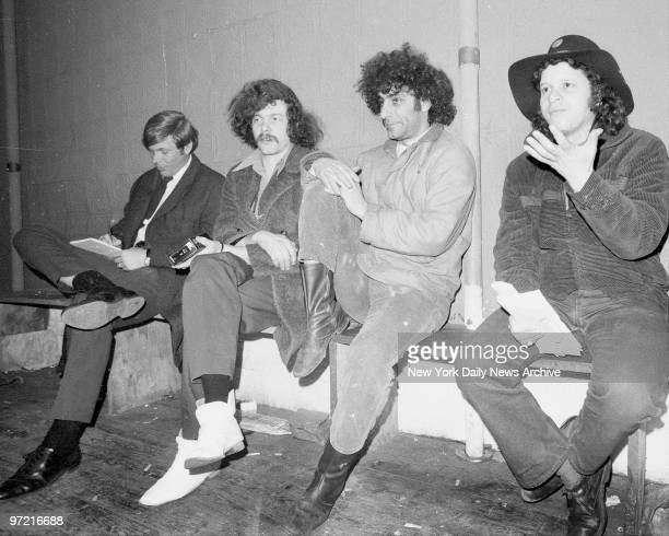 Unidentified reporter Ed Sanders Abbie Hoffman and Paul Krassner as they accused police of harassment