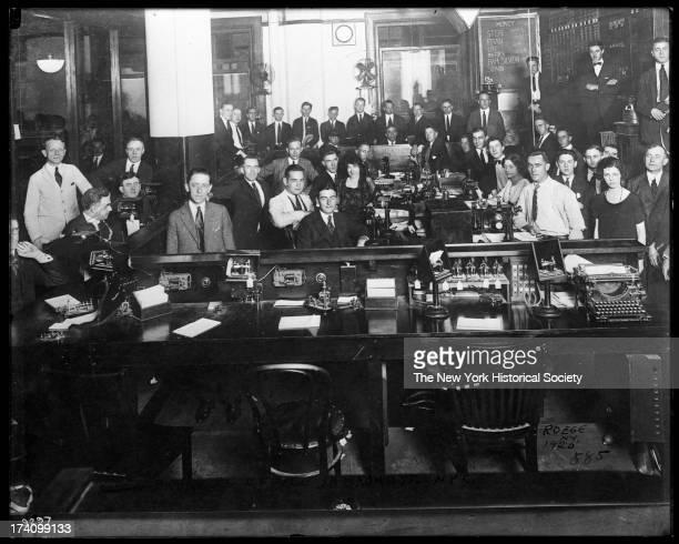 Unidentified stock broker's office interior New York New York 1920