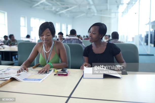 Unidentified students study in the state of the art library at the University of Botswana on September 22 2009 in the central business district in...