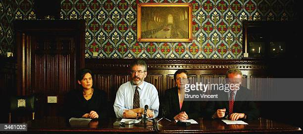 Unidentified woman Gerry Adams Barbara DeBruin and Martin McGuiness are seen holding a press conference after meeting with British Prime Minister...