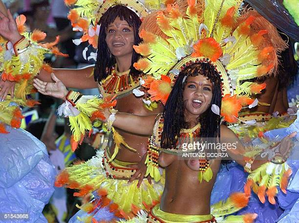 Unidos da Tijuca samba school performers sing and dance 06 March during tonight's parade at the Sambodromo in Rio de Janeiro This year's carnival...