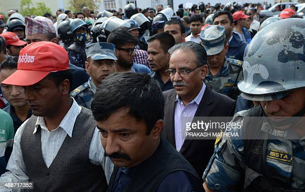 Unified Communist Party of Nepal chairman Pushpa Kamal Dahal also known as Prachanda arrives to take part in a demonstration against an order from...