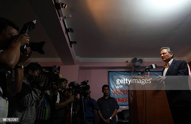 Unified Communist Party of Nepal senior leader Baburam Bhattarai addresses journalists at a press conference in Kathmandu on April 30 on the eve of a...