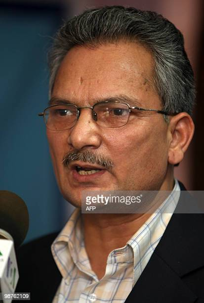 Unified Communist Party of Nepal senior leader Baburam Bhattarai addresses journalists at a press conference in Kathmandu on April 30 2010 on the eve...
