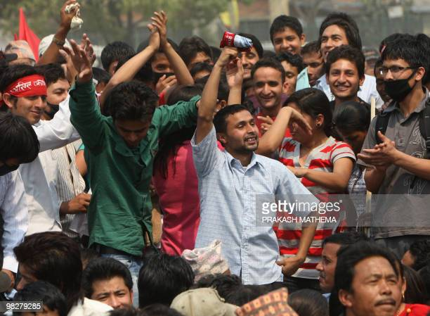 Unified Communist Party of Nepal supporters attend a mass rally in Kathmandu on April 6 2010 Party leader Pushpa Kamal Dahal known as Prachanda...